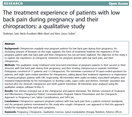 CHIROPRACTIC AND PREGNANCY AND PATIENT SATISFCATION